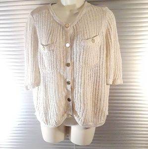 Tory Burch Gold Button Cream Pocketed Sweater L
